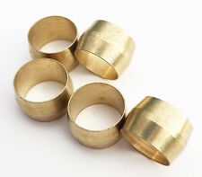5 Pack Of 3/4 Air Compressor Brass Compression Connector Tube Sleeve Ferrules