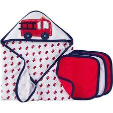Gerber Baby Boys 4 Piece Bath Set NEW Hooded Towel and Washcloths Firetrucks