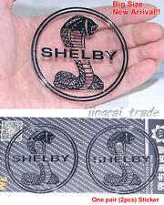 Big Size Pair (2 pcs) Polished Chrome COBRA SNAKE SHELBY Logo Car Sticker Decal