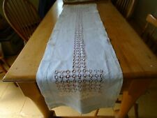 More details for antique irish linen table runner - drawn thread embroidery