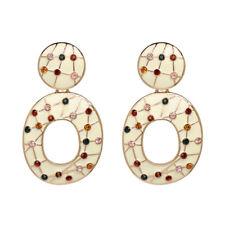 Ivory Enamel Jewel Hoop Earrings Emerald Ruby Citrine Pink Gold Colours EX ZARA