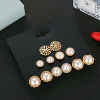 Pearl Earring Set Retro 6Pcs Fashion Jewelry Women Pearl Flower Stud Earrings