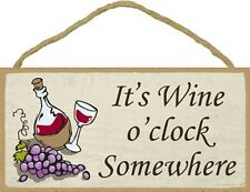 Novelty-Fun Wood Wine Sign-Plaque--It's Wine O'Clock Somewhere