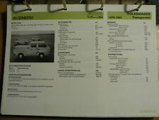 VOLKSWAGEN VW TRANSPORTER 1979-82 INFO TECHNICAL INFORMATION CAR AUTO OLY120