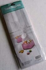 """EASTER TREAT BAGS KIT   8 Square Trays 3"""" x 3"""" x 1.75"""" Bags & Ribbons  PINK"""