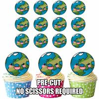 PRECUT Planet Earth Edible Cupcake Toppers Cake Decorations Party Birthday