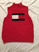 Vintage Tommy Hilfiger Red Sleeveless Sweater Womens L Spellout Logo 90s Flag