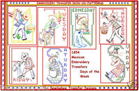 Mexican  embroidery transfer Days of the Week Tea Towel Motifs pattern # 1854