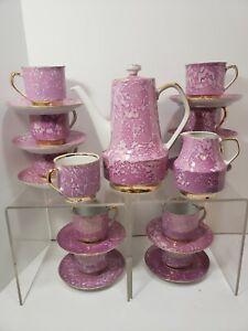 Chodziez Poland Pink Marbled Demitasse Coffee Tea Set Cottage Sheek