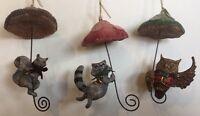 Katherine's Collection 3 Set Woodlanders Raccoon Squirrel Owl Mushroom Ornaments