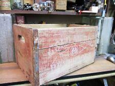 GOLD METAL VINTAGE wooden BEVERAGES soda CRATE pop wood carrier 1964 ORIGINAL