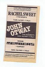 RACHEL SWEET / JOHN OTWAY / MEMBERS- GUILDFORD press clipping 1979 (28/04/79)