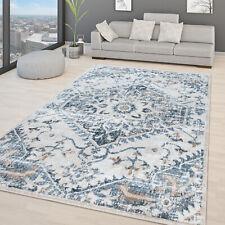 Wohnzimmer Teppich Orientalisches Vintage Design Modern Kurzflor Beige Blau Grau