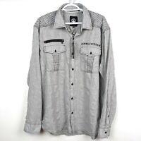 AFFLICTION BUTTON DOWN Shirt Embroidered WARFARE WOVEN Biker Men's Size XL