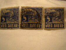 Netherlands Indies Stamp 1933 Scott 170 A17  Blue 5 Cent Set of 3