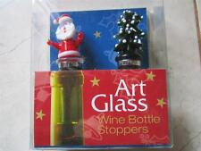 NEW IN BOX ART GLASS SANTA AND TREE WINE BOTTLE STOPPERS