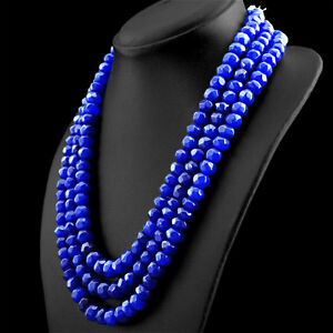 986.00 CTS EARTH MINED 3 STRAND RICH BLUE SAPPHIRE ROUND FACETED BEADS NECKLACE