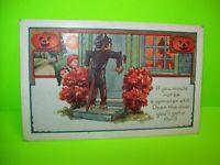 Vintage Halloween Postcard Whitney Scarecrow Original Pranks Series Two Pumpkins