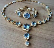 925 Sterling Silver Aquamarine Turkish Handmade Set Ring Earring Necklace  6-12