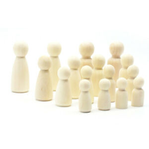 8Pcs Natural Unfinished Wooden Peg Doll Bodies People Shapes For Arts Craftlo