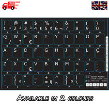 Portuguese Brazilian Black Keyboard Stickers with White Letters Laptop Computer