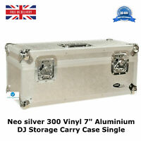 "7"" Vinyl Record Aluminium DJ Flight Carry Case Silver Holds 300 Tough Strong Box"
