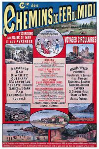 Affiche chemin de fer Midi - Bains de mer et Pyrénées