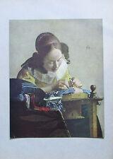 Johannes Vermeer van Delft SPITZENKÖPPLERIN Originaldruck aus ca. 1920 old print