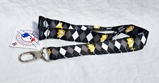 PITTSBURGH PIRATES ARGYLE PATTERN LANYARD SOFT KEYCHAIN DOUBLE SIDED LICENSED