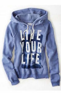 American Eagle Women's Live Your Life Hooded Sweatshirt Popover Purple Size S