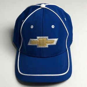 Chevrolet Chevy Men's Cap Hat Blue Gold Logo One Size Fits Most Elastic Stretch