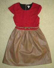 Ruum American Eagle Red Brown Faux Leather Cap-Sleeve Belted Dress 12