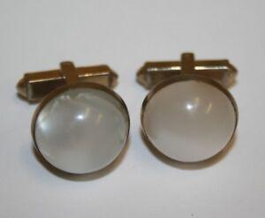 Vintage Circular Pearl White & Gold Tone ANSON High End Cuff Links RARE