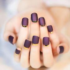 New Gifts 24 Short False Nails Full Gel Polish Frence Nail Art Acrylic Nail Tips