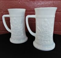 Tiara Indiana Milk Glass 2 Opaque White German 12 oz Beer Steins Mugs Tankards