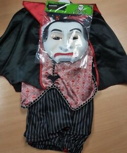 Children's Vampire Halloween Fancy Dress Costume with Cape and Mask Aged 11-12