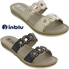 Womens Slides Sandals Summer Inblu Flat Open Toe Jewels Padded Lightweight
