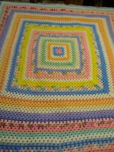 "Pastel Colors Afghan Blanket Throw Crochet Handmade Vintage 72"" X 72"" Square"