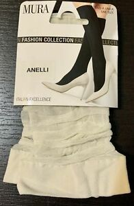 Mura Collant Italy Patterned Under Knee Socks w/ Embroidered Rings C3475 Anelli