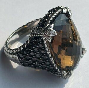 Judith Ripka Monaco Ginger Quartz and Diamonique Sterling Silver Ring - Size 7