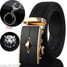 Genuine Leather Men's Automatic Buckle Belts Fashion Waist Strap Belt Waistband
