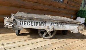 Antique Vintage Industrial Railroad Factory Wheels Cart
