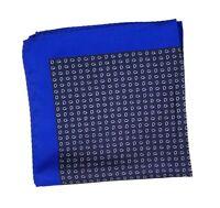 NEW - Men's 100% Silk Pocket Square Petite Blue Polka Dot Paisleys 12.5in