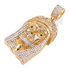 P10 Men Stainless Steel Gold Silver Rhinestone Jesus Medallion Pendant