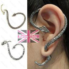 SNAKE WRAP EAR CUFF vintage brass/silver fashion stud EARRING gothic fairy vamp