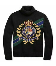 Polo Ralph Lauren Retro Wool Crest Intarsia Ski Turtleneck Sweater Sz L New 368$