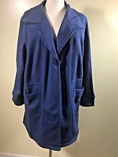 NIP WOMAN WITHIN 3X Jersey Knit Fleece Anorak Slate Blue Snap Front Lined Jacket