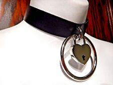 BLACK HEART REAL PADLOCK CHOKER faux leather collar silver necklace punk 6C