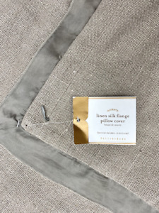 """NEW Pottery Barn Linen With Silk Trim Flange 20 x 20"""" Pillow Cover~Granite Gray"""