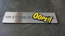 Plaque gravée pour boite aux lettre avec adhésif,étiquette argent 10 cm x 2.5cm